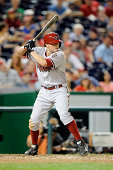 Jordan Pacheco of the Arizona Diamondbacks bats against the Washington Nationals at Nationals Park on August 19 2014 in Washington DC