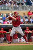Jordan Pacheco of the Arizona Diamondbacks bats against the Minnesota Twins on September 24 2014 at Target Field in Minneapolis Minnesota The Twins...