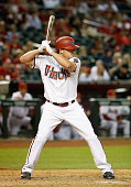 Jordan Pacheco of the Arizona Diamondbacks bats against the San Francisco Giants during the Opening Day MLB game at Chase Field on April 6 2015 in...