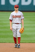 Jordan Pacheco of the Arizona Diamondbacks looks on during a baseball game against the Washington Nationals on August 21 2014 at Nationals Park in...