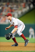 Jordan Pacheco of the Arizona Diamondbacks plays first base against the Washington Nationals at Nationals Park on August 19 2014 in Washington DC
