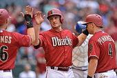 Jordan Pacheco of the Arizona Diamondbacks scores a run during the game against the Los Angeles Dodgers at Chase Field on Sunday April 12 2015 in...