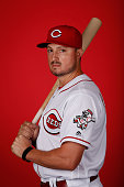 Jordan Pacheco of the Cincinnati Reds poses for a portrait during spring training photo day at Goodyear Ballpark on February 24 2016 in Goodyear...