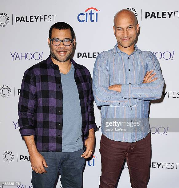 Jordan Peele and KeeganMichael Key attend a salute to Comedy Central at the 32nd annual PaleyFest at Dolby Theatre on March 7 2015 in Hollywood...