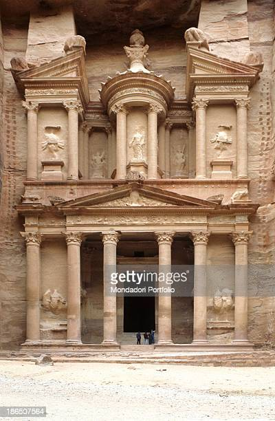 Jordan Petra Petra Archaeological Park Whole artwork view View of the hellenistic facade of The Treasury divided into two tiers the lower one is...