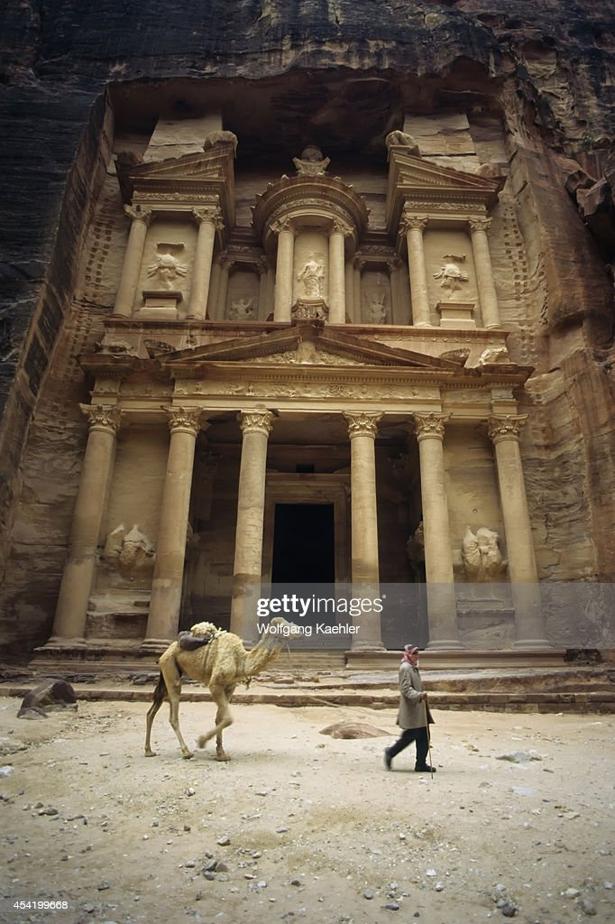 Jordan, Petra, Treasury, Local Man With Camel.
