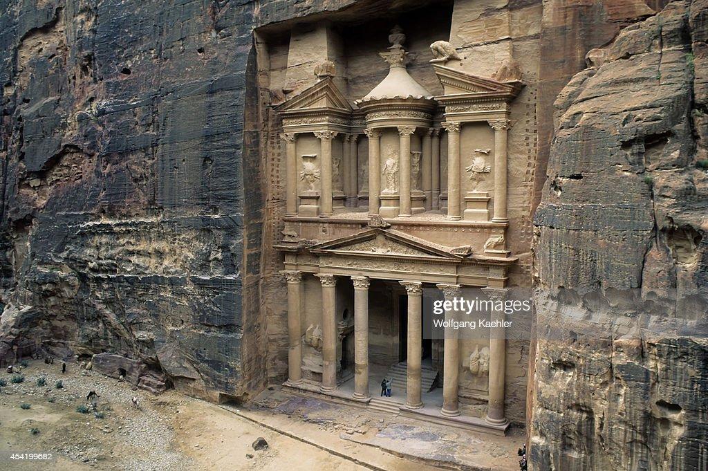 Jordan, Petra, Treasury Of The Pharaoh (al Khazneh Farun), 84-85 B.c., View From Cliff.
