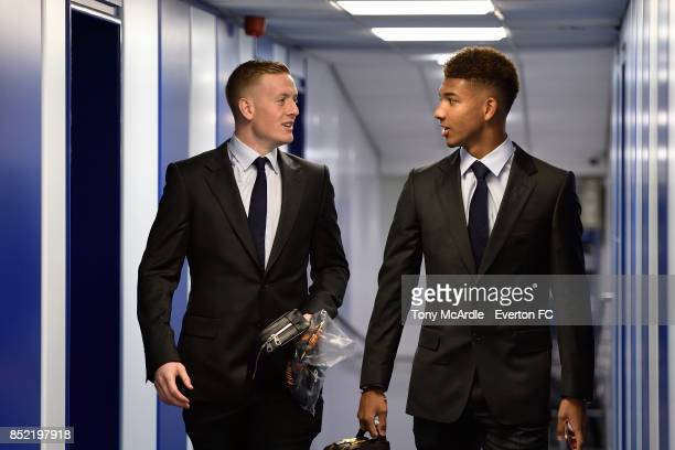 Jordan Pickford and Mason Holgate arrive before the Premier League match between Everton and AFC Bournemouth at Goodison Park on September 23 2017 in...