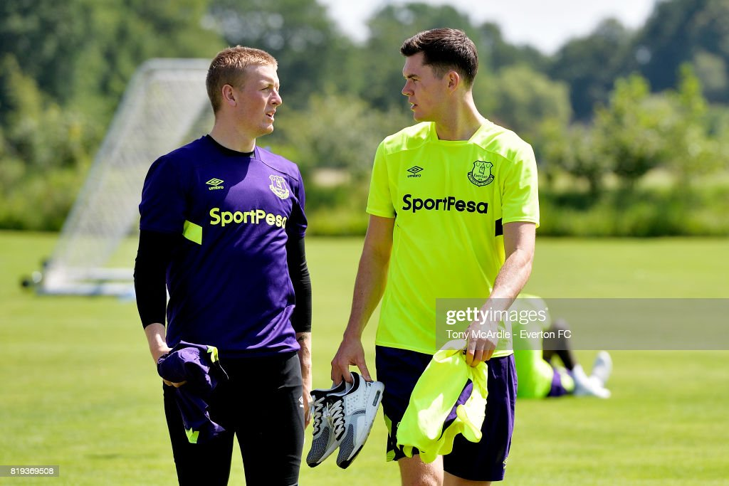 Jordan Pickford (L) and Michael Keane of Everton during pre-season training on July 18, 2017 in De Lutte, Netherlands.