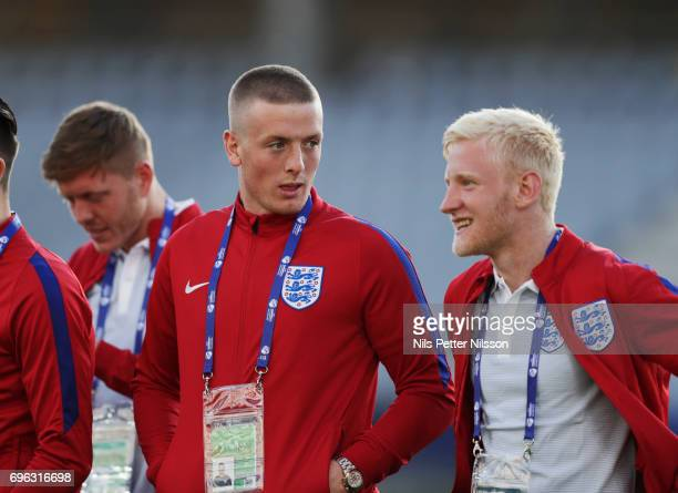 Jordan Pickford and Will Hughes during the English U21 national team walk around at Kielce Arena on June 15 2017 in Kielce Poland
