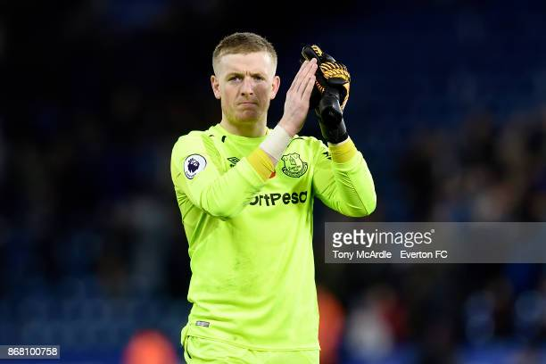 Jordan Pickford applauds the Everton fans after the Premier League match between Leicester City and Everton at the King Power Stadium on October 29...