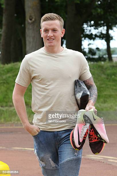 Jordan Pickford arrives for the first day of Sunderland PreSeason training at The Academy of Light on July 4 2016 in Sunderland England
