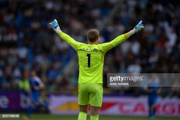Jordan Pickford celebrates Everton's first goal during the PreSeason Friendly between KRC Genk and Everton at Cristal Arena on July 22 2017 in Genk...