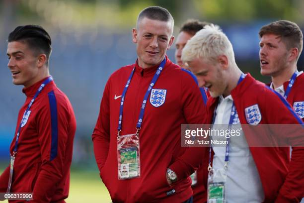 Jordan Pickford during the English U21 national team walk around at Kielce Arena on June 15 2017 in Kielce Poland