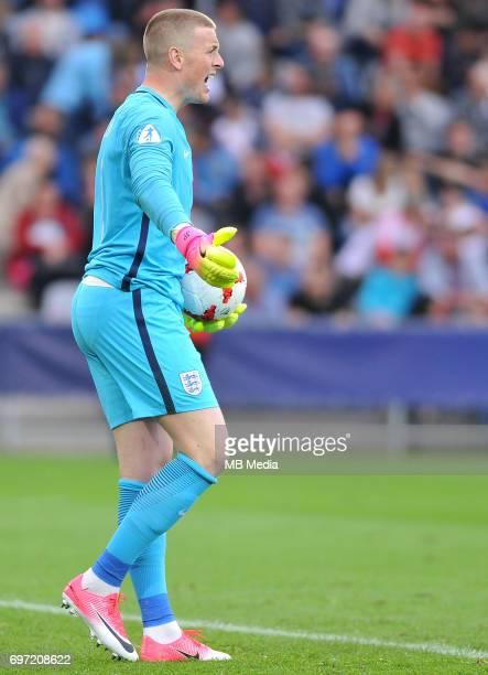 Jordan Pickford during the UEFA European Under21 match between Sweden and England at Kolporter Arena on June 16 2017 in Kielce Poland