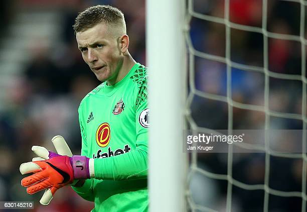 Jordan Pickford Goalkeeper of Sunderland looks on during the Premier League match between Sunderland and Watford at Stadium of Light on December 17...