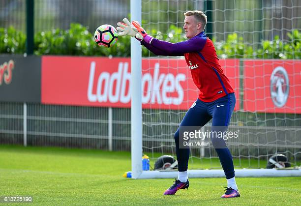 Jordan Pickford in action during an England training session at the Tottenham Hotspur training ground on October 10 2016 in Enfield England