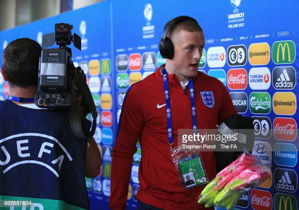 Jordan Pickford of England arrives for the UEFA European Under21 Championship Group A match between Slovakia and England at Kielce Stadium on June 19...
