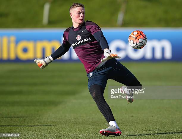 Jordan Pickford of England during an England Under 21's training session at St George's Park on October 12 2015 in BurtonuponTrent England