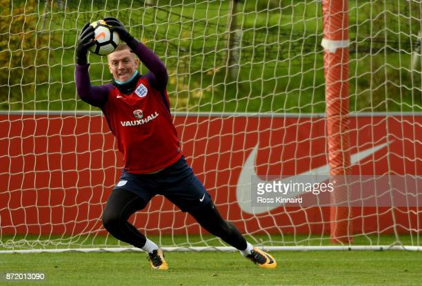 Jordan Pickford of England in action during a England training session at St Georges Park on November 9 2017 in BurtonuponTrent England