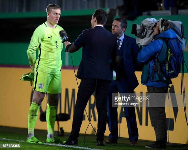 Jordan Pickford of England is seen after the U21 international friendly match between Germany and England at BRITAArena on March 24 2017 in Wiesbaden...