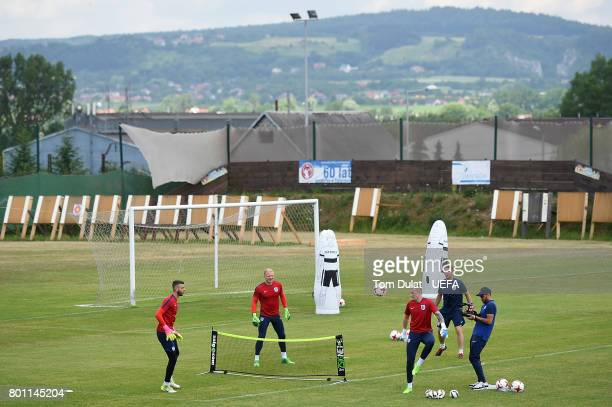 Jordan Pickford of England kicks the ball during a training session on the eve of their UEFA European Under21 Championship Semifinal against Germany...