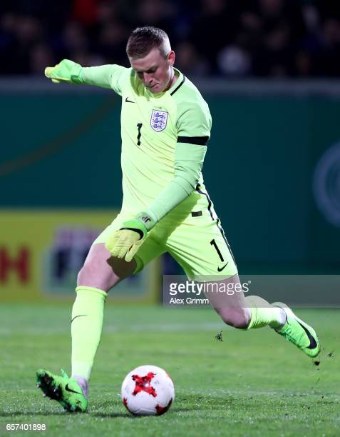 Jordan Pickford of England kicks the ball during the U21 international friendly match between Germany and England at BRITAArena on March 24 2017 in...
