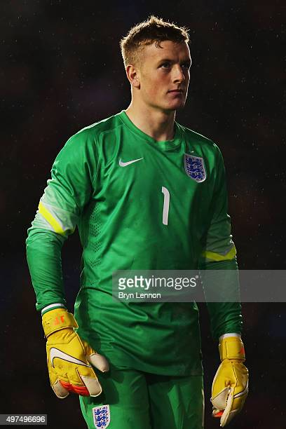 Jordan Pickford of England looks on during the European Under 21 Qualifier between England U21 and Switzerland U21 at the Amex Stadium on November 16...