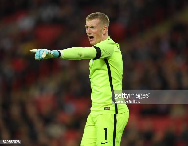 Jordan Pickford of England looks on during the International Friendly between England and Germany at Wembley Stadium on November 10 2017 in London...