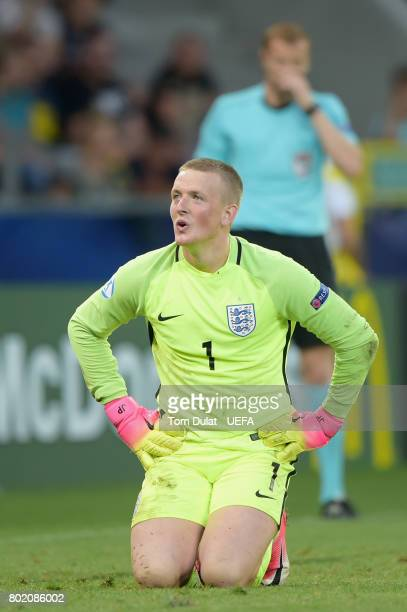 Jordan Pickford of England reacts in the penalty shoot out during the UEFA European Under21 Championship Semi Final match between England and Germany...