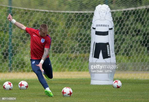 Jordan Pickford of England U21 during a training session on the eve of their UEFA European Under21 Championship Semifinal against Germany on June 26...
