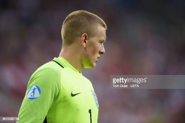Jordan Pickford of Englnd looks on during the UEFA European Under21 Championship Semi Final match between England and Germany at Tychy Stadium on...