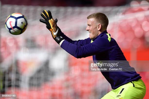 Jordan Pickford of Everton before the Premier League match between Manchester United and Everton at Old Trafford on September 17 2017 in Manchester...