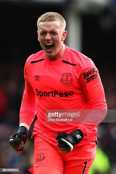 Jordan Pickford of Everton celebrates his side's first goal during the Premier League match between Everton and Arsenal at Goodison Park on October...