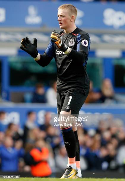 Jordan Pickford of Everton during the Premier League match between Everton and Stoke City at Goodison Park on August 12 2017 in Liverpool England