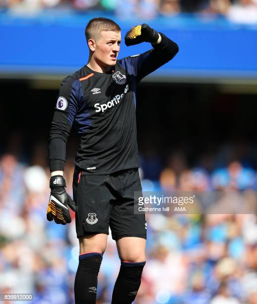 Jordan Pickford of Everton during the Premier League match between Chelsea and Everton at Stamford Bridge on August 27 2017 in London England
