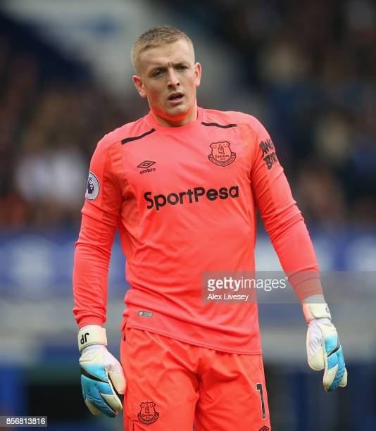 Jordan Pickford of Everton during the Premier League match between Everton and Burnley at Goodison Park on October 1 2017 in Liverpool England