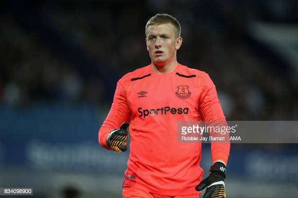 Jordan Pickford of Everton during the UEFA Europa League Qualifying PlayOffs round first leg match between Everton FC and Hajduk Split at Goodison...