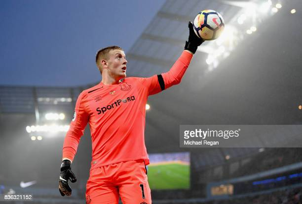 Jordan Pickford of Everton in action during the Premier League match between Manchester City and Everton at Etihad Stadium on August 21 2017 in...