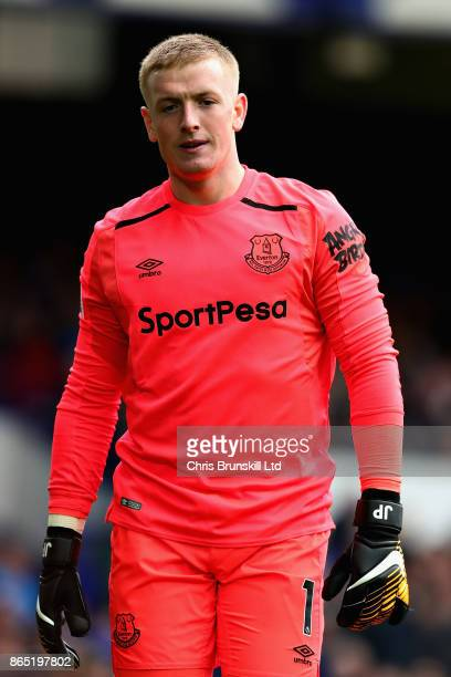 Jordan Pickford of Everton looks on during the Premier League match between Everton and Arsenal at Goodison Park on October 22 2017 in Liverpool...