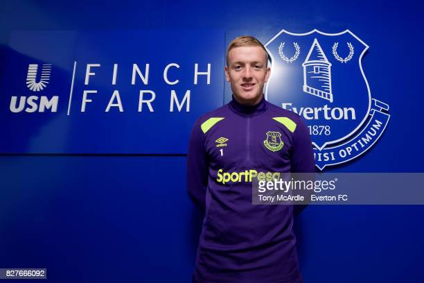 Jordan Pickford of Everton poses for a photo at USM Finch Farm on August 7 2017 in Halewood England