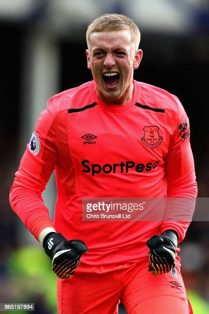 Jordan Pickford of Everton reacts during the Premier League match between Everton and Arsenal at Goodison Park on October 22 2017 in Liverpool England