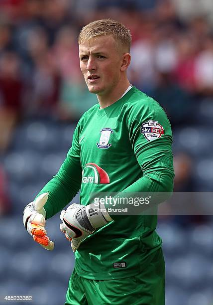 Jordan Pickford of Preston North End looks on during the Sky Bet Championship match between Preston North End and Middlesbrough at Deepdale on August...