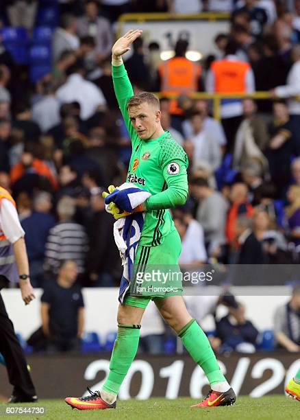 Jordan Pickford of Sunderland applauds the fans on the final whistle during the Premier League match between Tottenham Hotspur and Sunderland at...