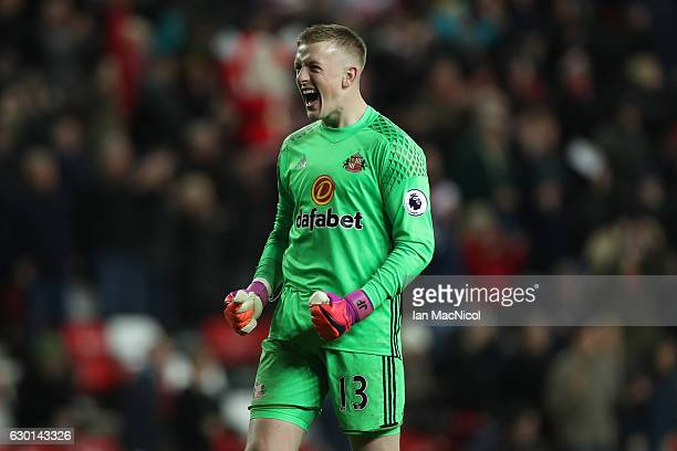 Jordan Pickford of Sunderland celebrates after the final whistle during the Premier League match between Sunderland and Watford at Stadium of Light...