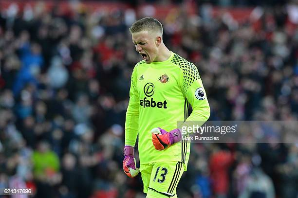 Jordan Pickford of Sunderland celebrates his sides first goal during the Premier League match between Sunderland and Hull City at Stadium of Light on...
