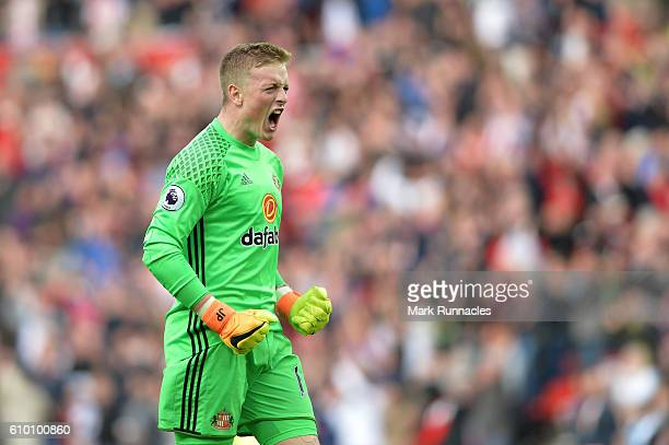 Jordan Pickford of Sunderland celebrates his sides goal during the Premier League match between Sunderland and Crystal Palace at the Stadium of Light...