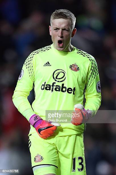 Jordan Pickford of Sunderland celebrates his side's second goal during the Barclays Premier League match between Sunderland and Hull City at the...
