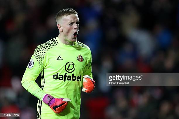 Jordan Pickford of Sunderland celebrates his side's third goal during the Barclays Premier League match between Sunderland and Hull City at the...