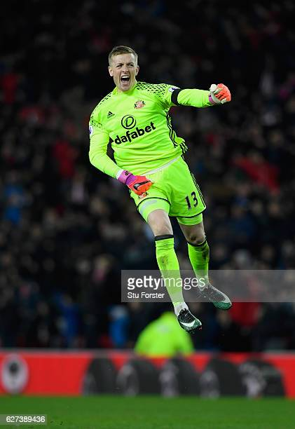 Jordan Pickford of Sunderland celebrates his team's winning goal during the Premier League match between Sunderland and Leicester City at Stadium of...